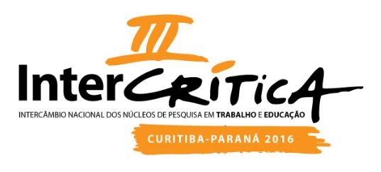 III Intercrítica: Intercâmbio Nacional dos Núcleos de Pesquisa em Trabalho e Educação - 28 a 30 de setembro – Curitiba (PR)